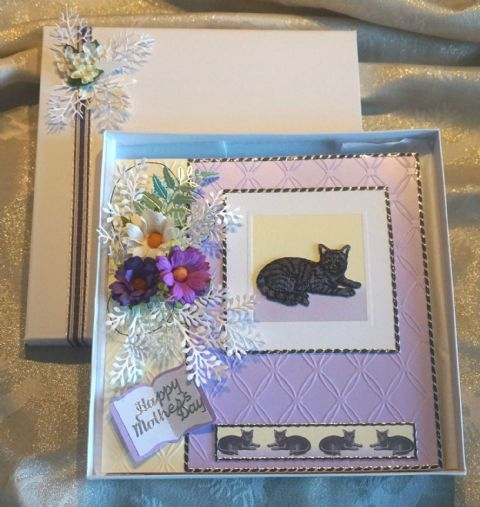 Mothers Day Hand Made Keepsake Card with Embroidered Cat Centrepeice